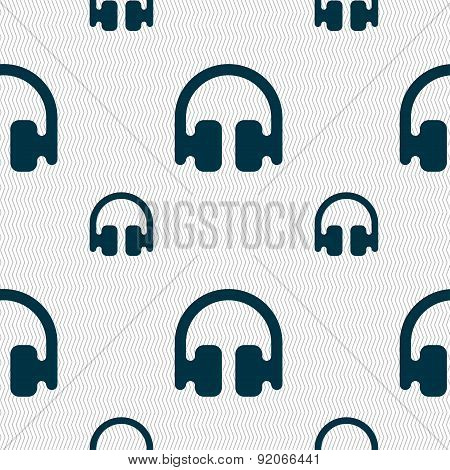 Headphones, Earphones Icon Sign. Seamless Pattern With Geometric Texture. Vector
