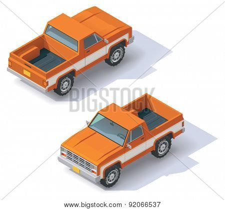 Isometric icon representing pickup truck