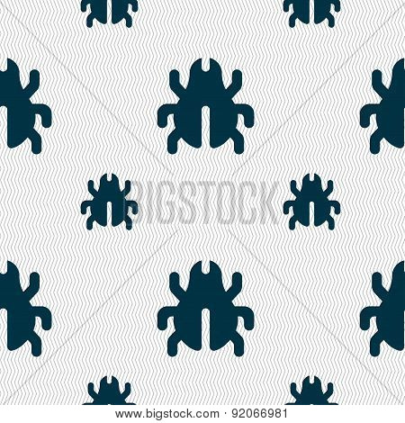 Software Bug, Virus, Disinfection, Beetle Icon Sign. Seamless Pattern With Geometric Texture. Vector