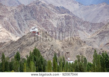 Tall Shanti Stupa In Leh, Ladakh, India