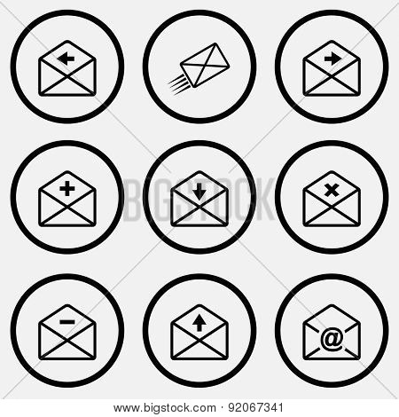 Mail set. Black and white set vector icons.