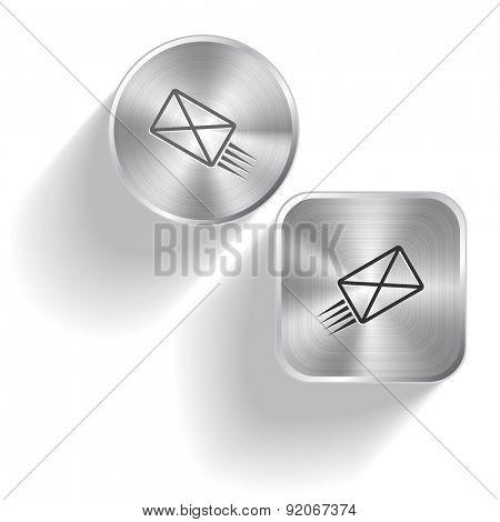 send mail. Vector set steel buttons