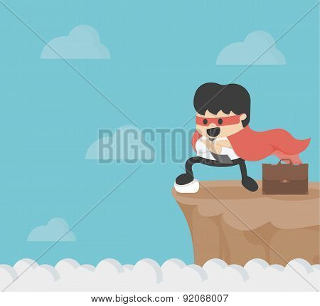Super Businessman On Precipice