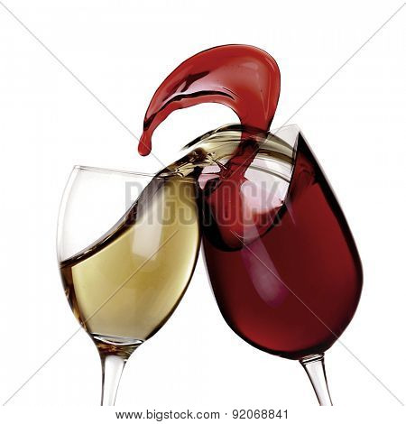Splashes of wine isolated on white