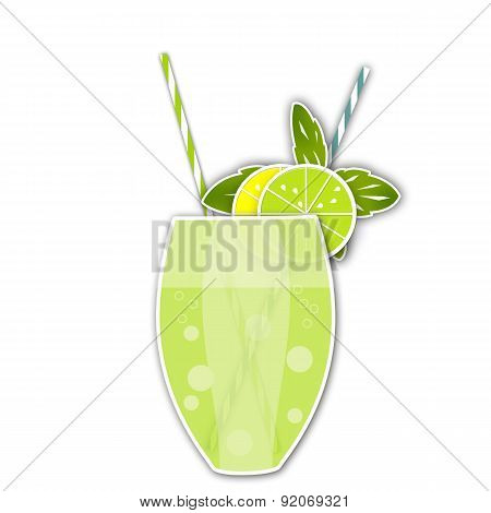 Cocktail Citrus Background. Glass Of Drink With Tubule. Illustration Of Bubble Tea Or Milkshake Isol