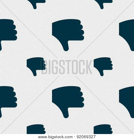 Dislike, Thumb Down, Hand Finger Down Icon Sign. Seamless Pattern With Geometric Texture. Vector