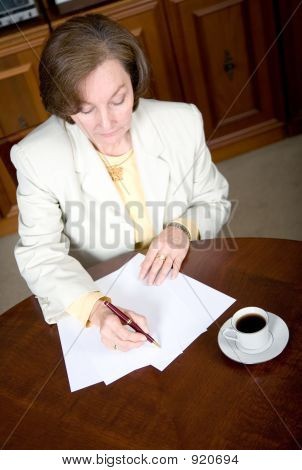 Business Woman Writing A Letter