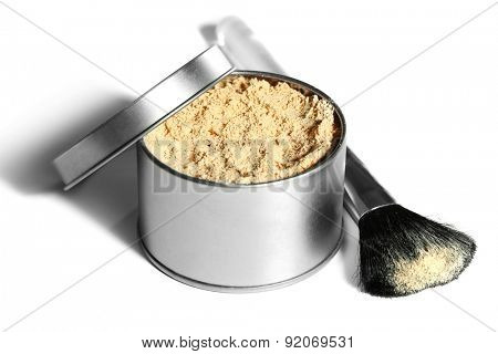 Jar with loose cosmetic powder and makeup brush, isolated on white