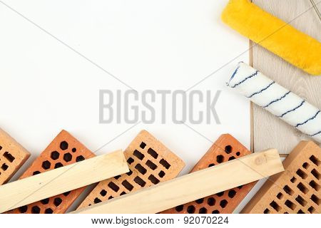 Still life with building tools and materials with space for text