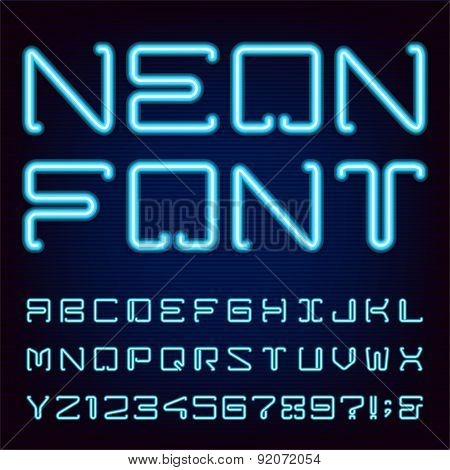 Neon Blue Light Alphabet Vector Font.