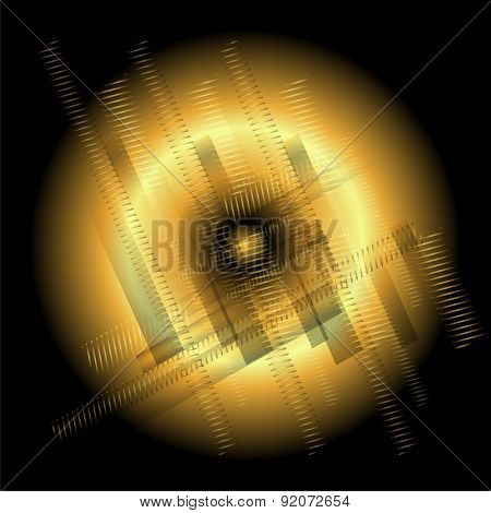 Abstract technology round golden black