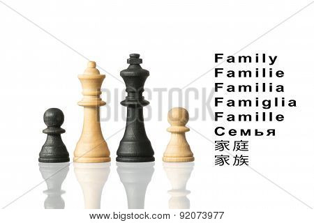 Representation Of The Family With Chess Pieces And  Word