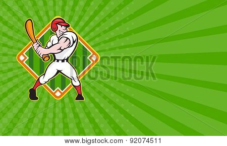Business Card Baseball Player Batting Diamond Cartoon