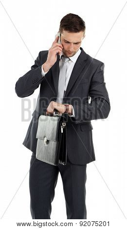 Man holding bag isolated on white