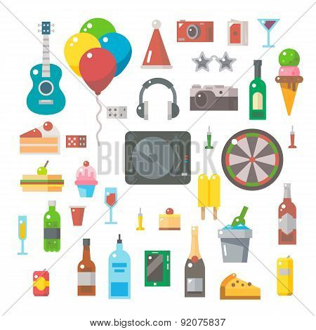 Flat Design Of Party Items Set