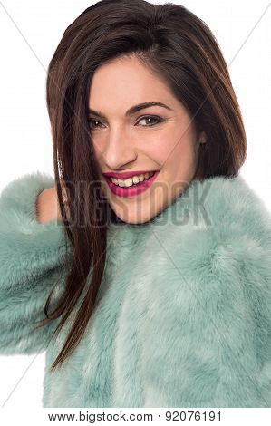 Smiling Woman With Fur Coat.