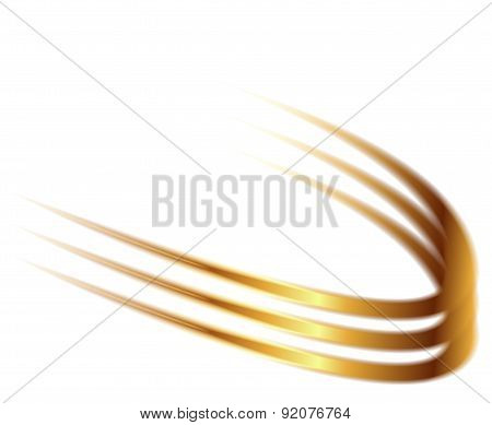 Dynamic golden abstract motion on white background