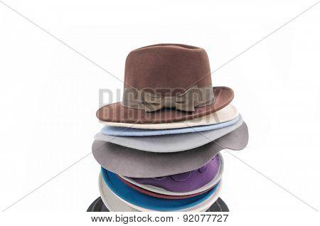 Stacked fedora hat isolated on white