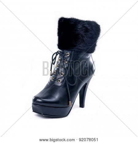 Black high boots on white background