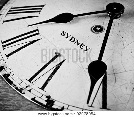 Sydney Black And White Clock Face.