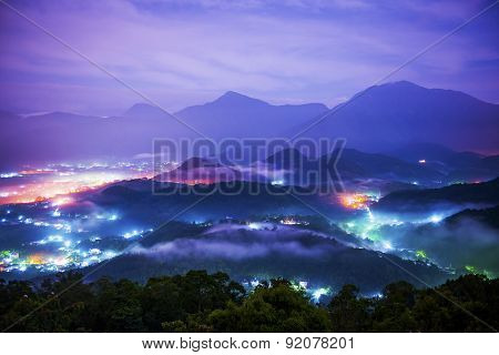 Beautiful mountains night in Nantou in Taiwan