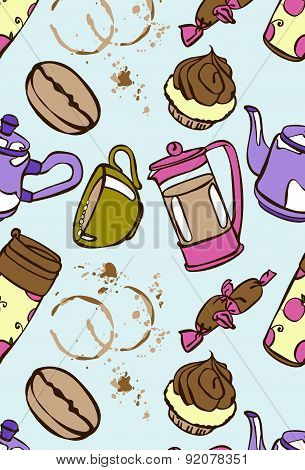 Coffee. Coffee theme. Desserts. Vector seamless illustration.