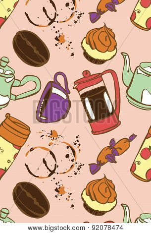 Coffee. Coffee theme. Desserts. Vector seamless illustration