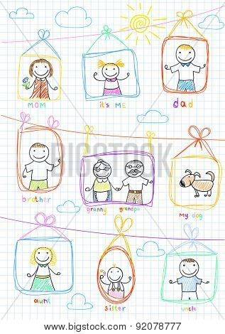 Portraits of happy family. Vector sketch on notebook page