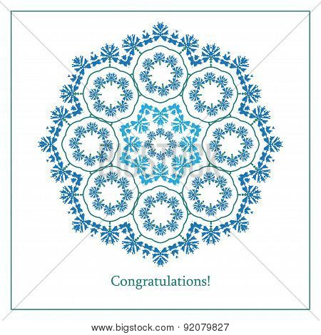 Greeting Card With Ethnic Cornflower Ornament Pattern