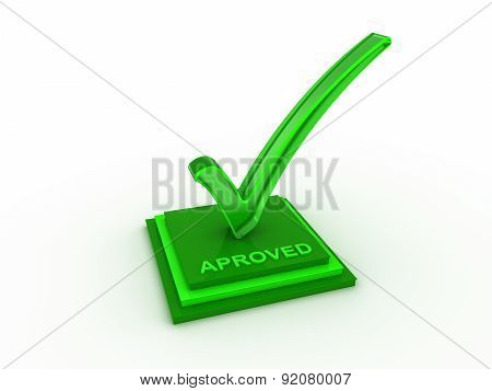 Check  mark icon on rectangles with APROVED word