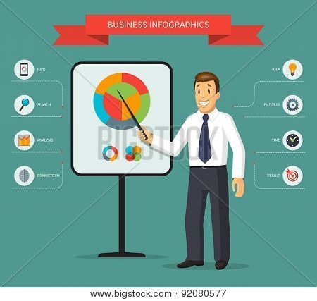 Smiling vector cartoon businessman giving a presentation