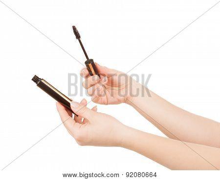 Female Hand Holding A Mascara Brush Isolated On White Background