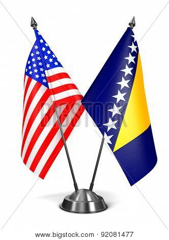 Usa, Bosnia And Herzegovina - Miniature Flags.