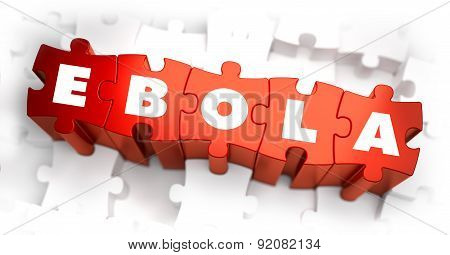 Ebola - Text On Red Puzzles With White Background.