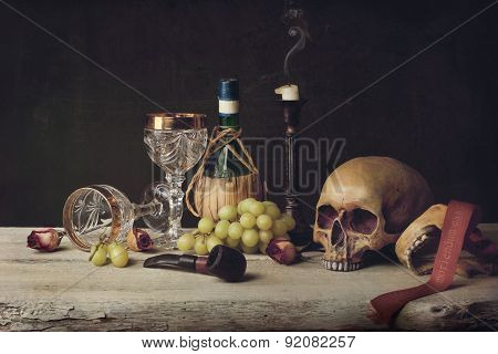 Vanitas Witch Skull; Pipe, Tobacco, Wine Glass, Wine And Grape