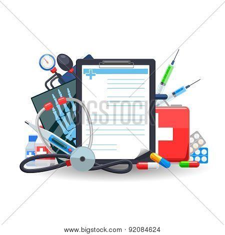 Medical prescription infographic element
