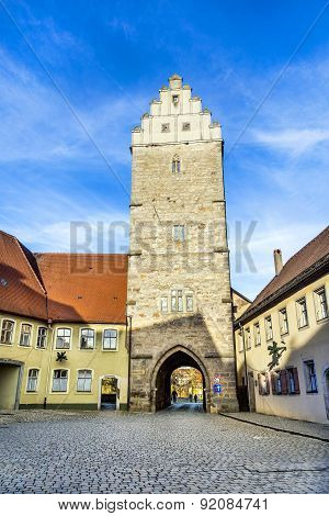 gate in old romantic city of Dinkelsbuehl