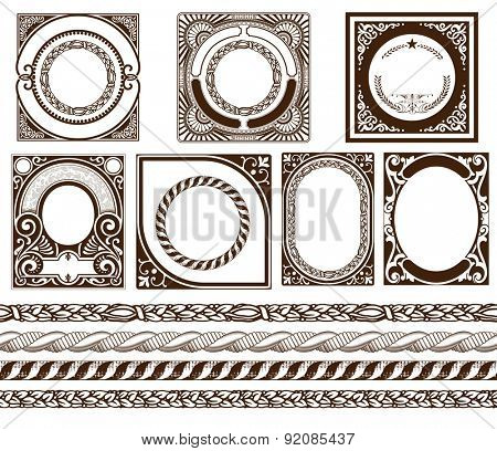 Set baroque cards with ornaments and floral details
