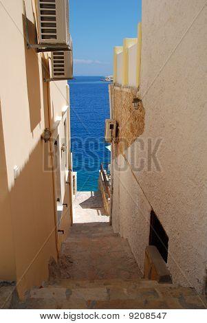 Seafront steps, Halki island