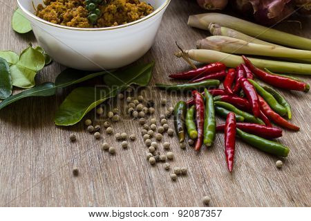 Hot Chillies With Pork With Yellow Curry Paste And Spices
