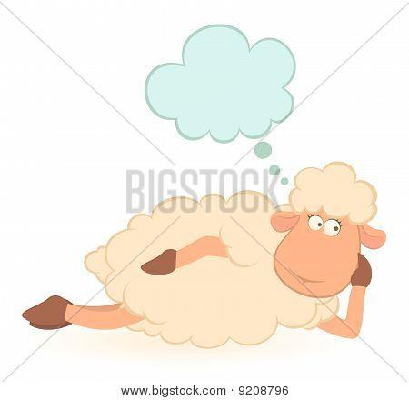 Beautiful illustration of cartoon sheep dreams about love
