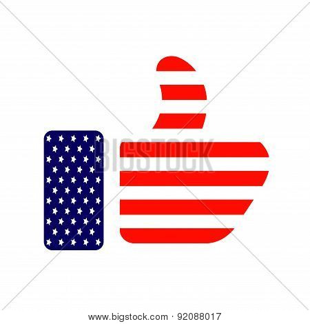 Fourth july - thumb up colored in American flag icon.