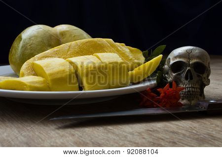 Skulls With Fruit And Flower Rot, Still Life
