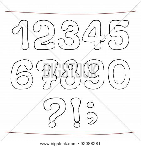 Hand drawn sketch alphabet. Numerals, punctuation marks