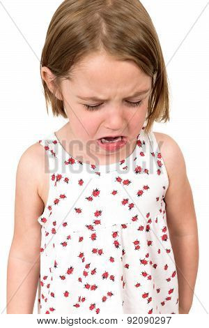 Little Girl Is Crying Isolated On White