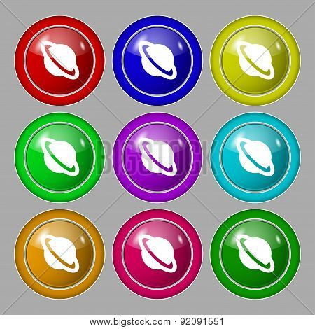 Jupiter Planet Icon Sign. Symbol On Nine Round Colourful Buttons. Vector