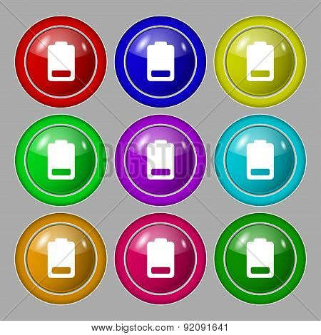 Battery Low Level, Electricity Icon Sign. Symbol On Nine Round Colourful Buttons. Vector