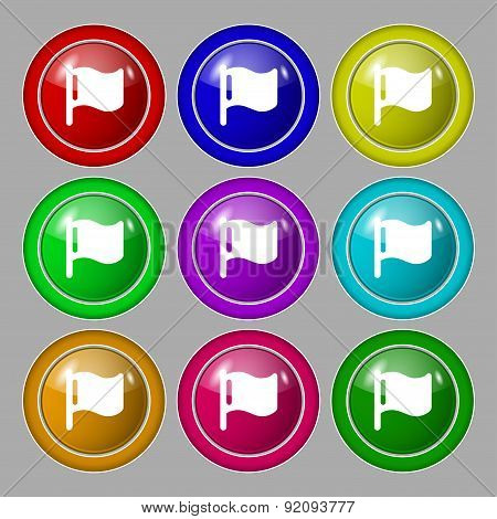 Flag Icon Sign. Symbol On Nine Round Colourful Buttons. Vector