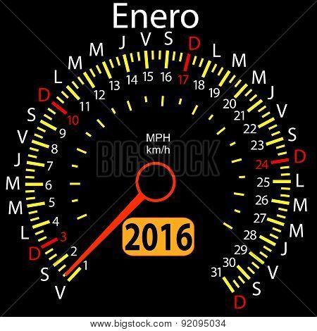 2016 year calendar speedometer car in Spanish, January. Vector i