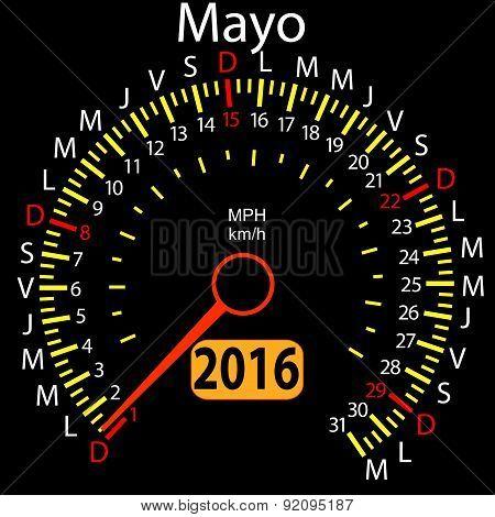 2016 year calendar speedometer car in Spanish, May. Vector illus
